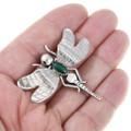Genuine Malachite Gemstone Silver Dragonfly Brooch Lapel Pin 41371