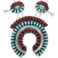 Turquoise Coral Silver Squash Blossom Necklace Earrings Set 41487