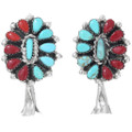 Matching Coral Turquoise Squash Blossom Earrings 41487
