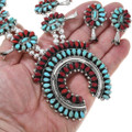 Turquoise Coral Navajo Necklace Earrings Set 41487