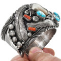 Sleeping Beauty Turquoise Coral Bear Claw Cuff Bracelet 41524