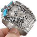 Old Pawn Sterling Silver Genuine Bear Claw Turquoise Bracelet 41526