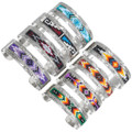 Native American Beaded Geometric Navajo Pattern Silver Bracelet 41535