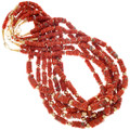 Graduated Coral Bead Necklace Native American Artist Lula Begay 41553
