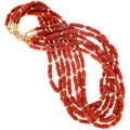 Natural Mediterranean Coral Beaded Necklace 12KGF Accents 41558