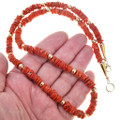 Alternating Gold Natural Coral Bead Necklace 41558