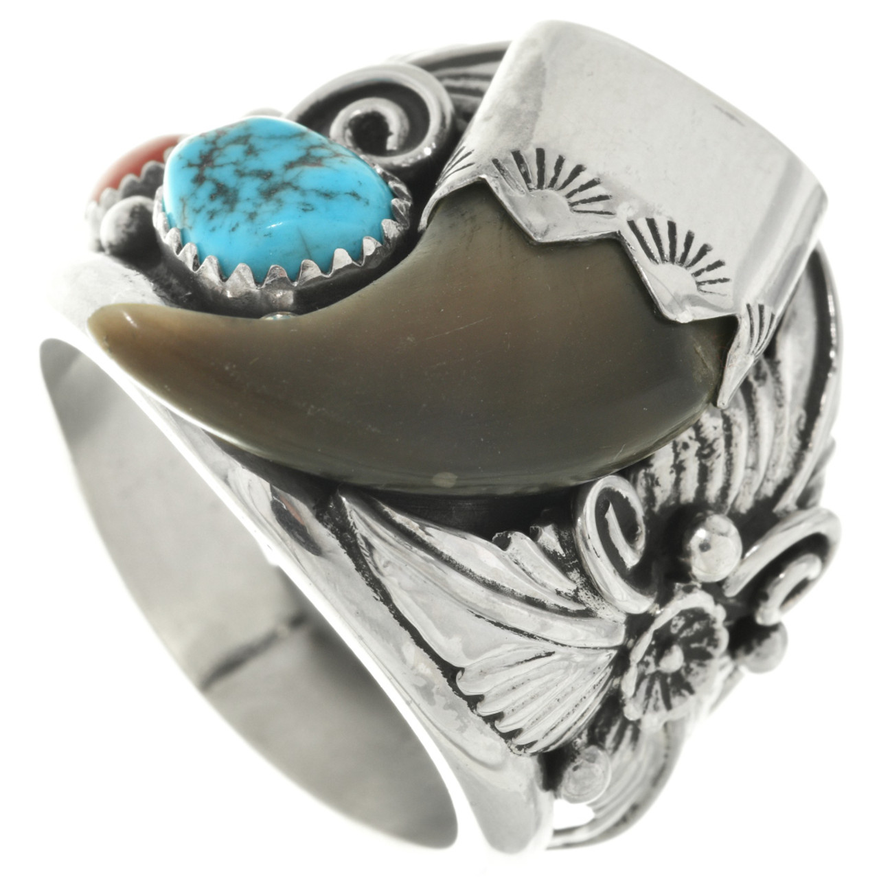 199c8cf55 Navajo Turquoise Bear Claw Ring 25998