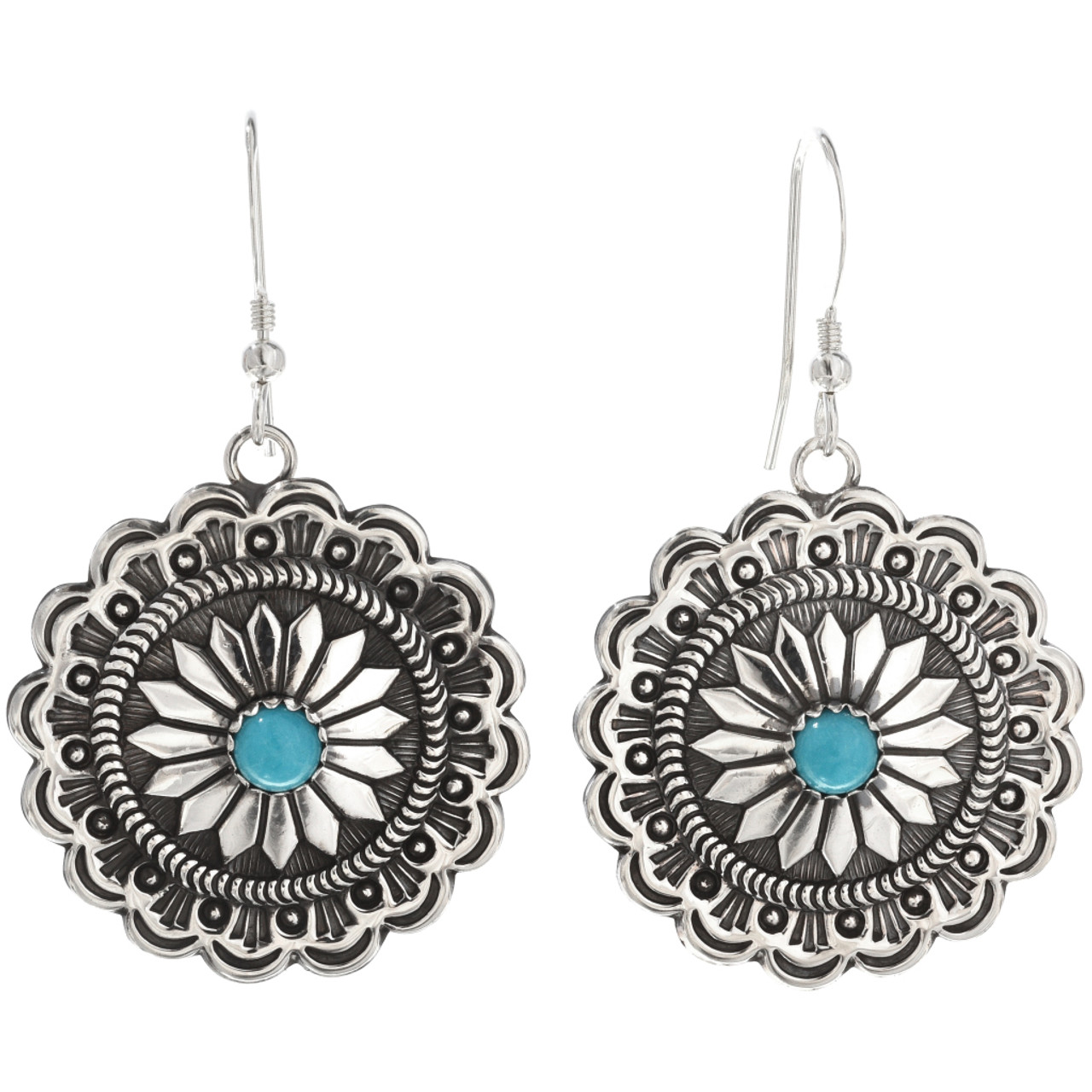 f50541d23 Navajo Turquoise Silver Concho Earrings 15788