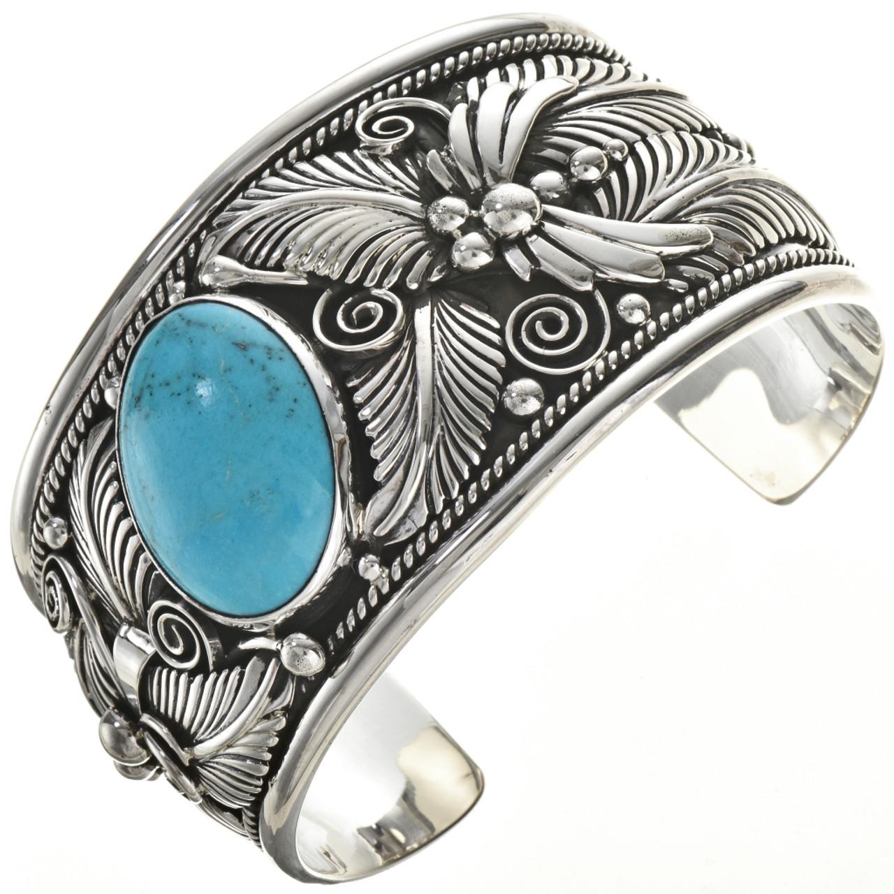 de7ed900e73b6 Navajo Big Boy Turquoise Cuff Wide Southwest Silver Bracelet 0045