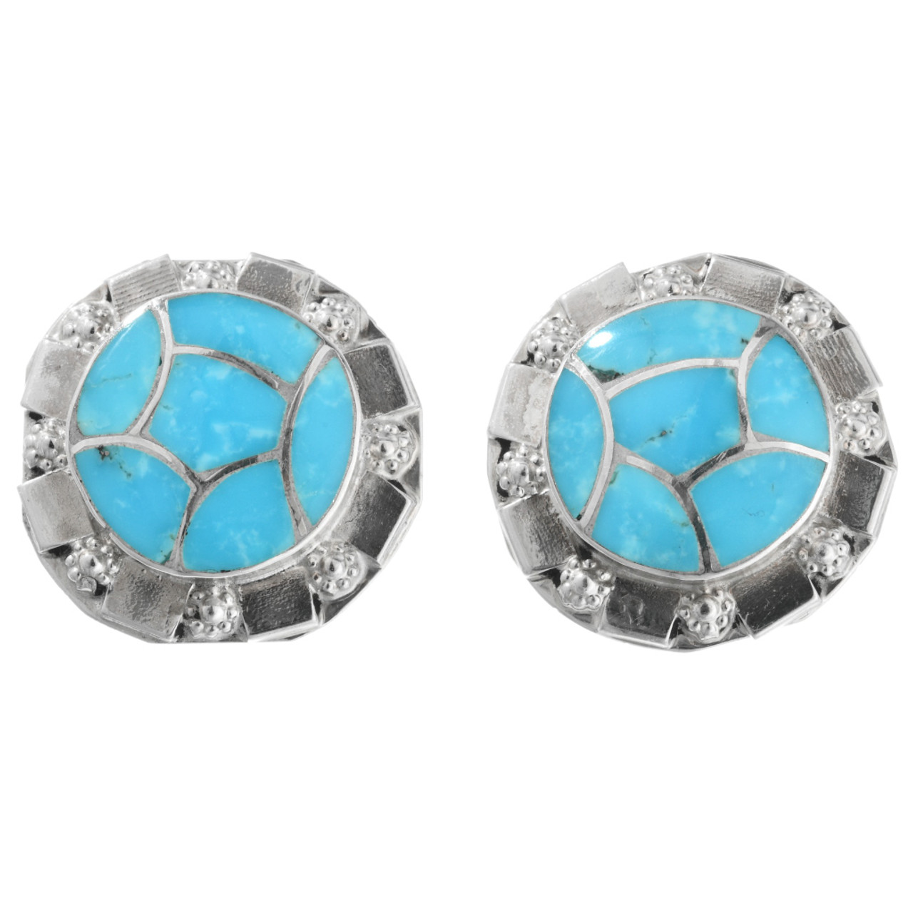 61b2e8650 Zuni Inlaid Turquoise Post Earrings 32137