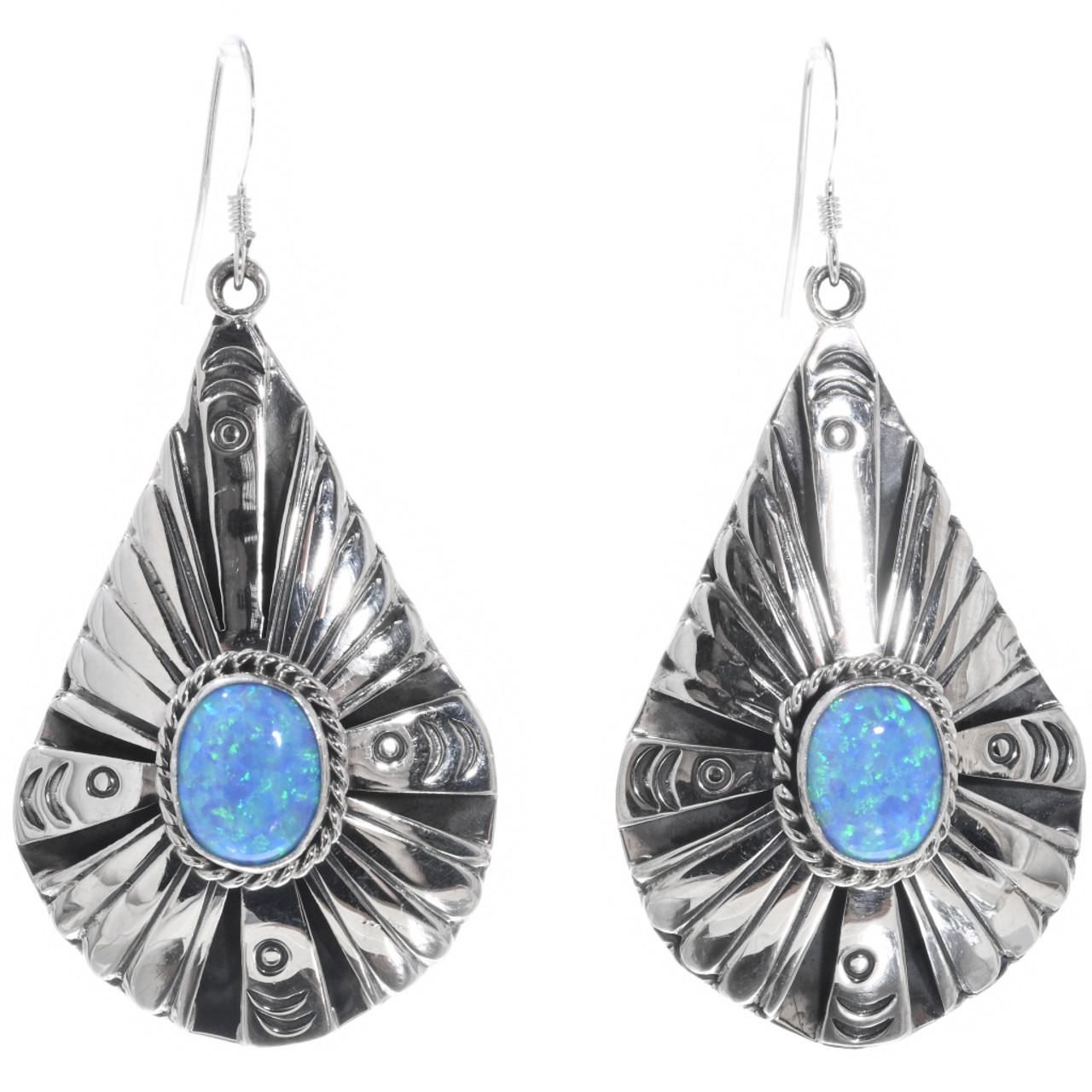 9a5bcaa94b13e Opal Silver Teardrop Dangle Earrings French Hooks by Navajo Henry Attakai  0152