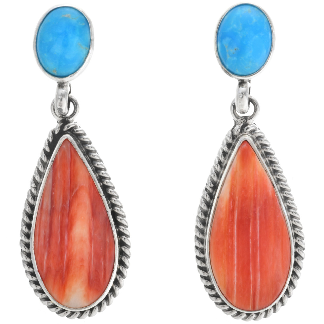 Spiny Oyster Shell Earrings Small Dangle Sterling Silver Hook Hand Carved Orange