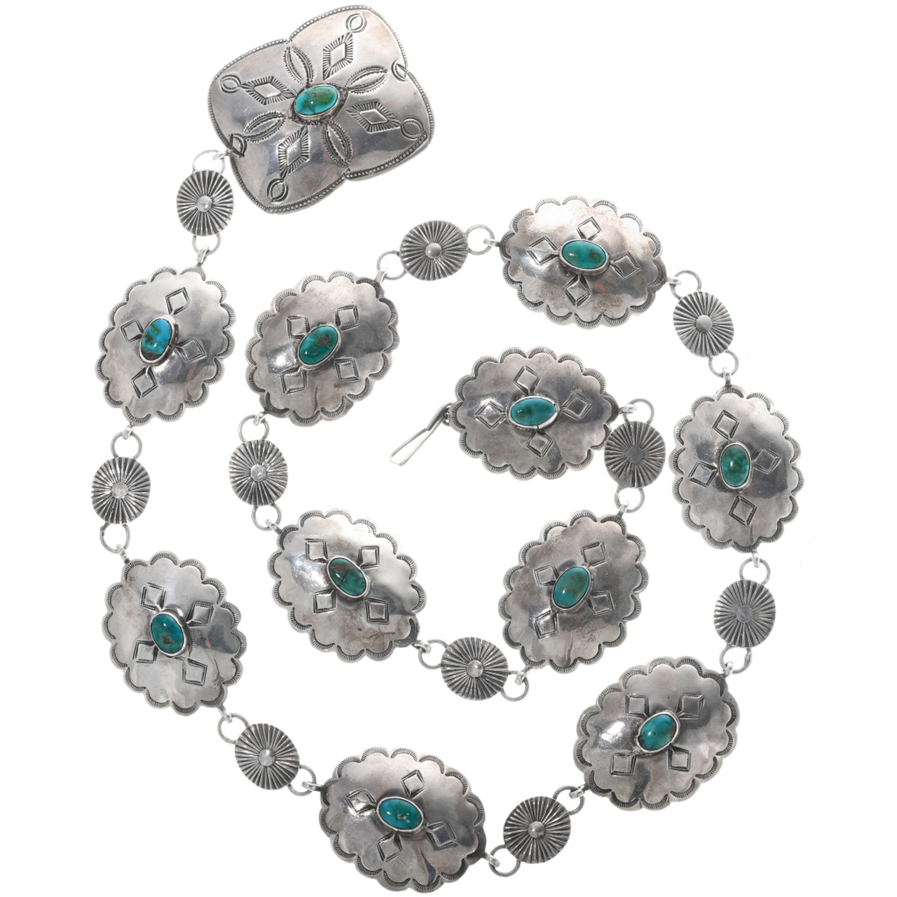 f6bbcebd2 Vintage Native American Silver Turquoise Concho Belt 33255