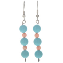 Turquoise Coral Navajo Bead Earrings 11035