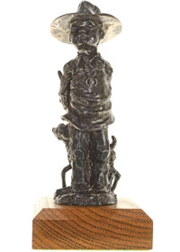 Navajo Boy Hiding Lamb Bronze Sculpture 27240