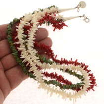 Three Strand Colorful Coral Turquoise Necklace 25466