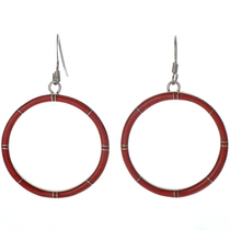 Coral Inlaid Silver Hoop Earrings 19661