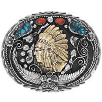 Native American Chief Belt Buckle 15212