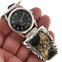 Silver Gold Onyx Watch 24503