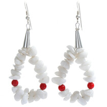 White Coral Loop Navajo Earrings 23758