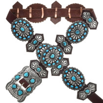 Turquoise Silver Concho Belt 16832