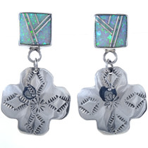 Southwest Opal Silver Cross Earrings 15114