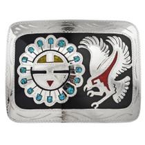 Silver Sunface Eagle Belt Buckle 19781