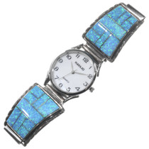 Inlaid Opal Silver Mens Watch 24475