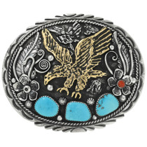 Navajo Gold Silver Turquoise Belt Buckle 17435