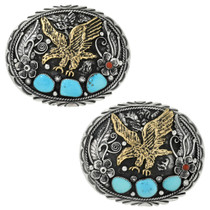 Navajo Turquoise Eagle Belt Buckle 17435