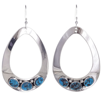 Navajo Turquoise Silver Earrings 26834