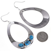 Silver Teardrop Turquoise Earrings 26834