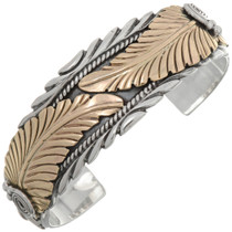 Gold Feather Navajo Silver Cuff  26999