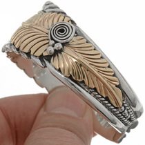 Navajo Feather Gold Silver Bracelet 26999