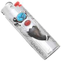 Navajo Turquoise Coral Silver Lighter Case 23893
