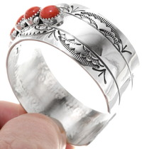 Silver Coral Southwest Cuff Bracelet 25295
