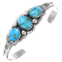 Turquoise Silver Baby Cuff Bracelet 26366