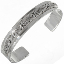 Navajo Hammered Silver Overlaid Cuff 19280