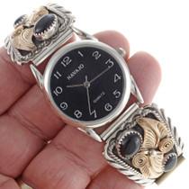 Silver Gold Onyx Mens Watch 24087