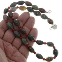 Native American Coral Agate Bead Necklace 26270