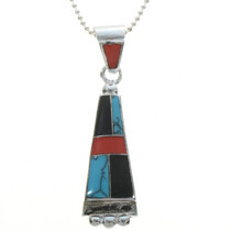 Inlaid Turquoise Coral Pendant 17045