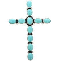 Navajo Genuine Turquoise Cross Pendant 20792