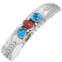 Native American Turquoise Coral Hair Jewelry 24483
