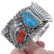 Native American Turquoise Coral Watch 24427