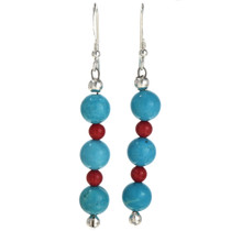 Turquoise Coral Navajo Earrings 11037