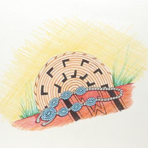 Navajo Pen Colored Pencil Sketch 22472