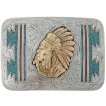 Silver Gold Chief Belt Buckle 23976