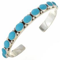 Navajo Turquoise Silver Row Bracelet 22773