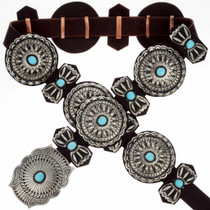 Turquoise Silver Concho Belt 24355