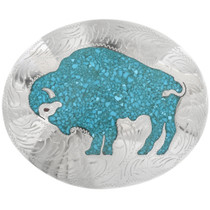 Inlaid Turquoise Buffalo Belt Buckle 23286